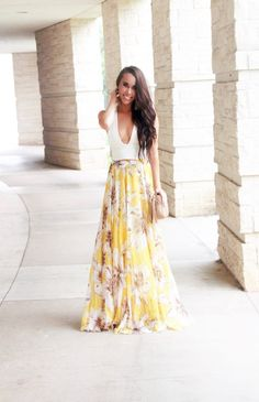 Yellow Floral Maxi Skirt $49 - Sunshine & Stilettos Blog (Instagram: @katlynmaupin) - Spring Outfit