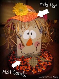 2014 Thanksgiving Cereal Box Scarecrow Face Craft  - Great Fall Table Centerpiece #2014 #Thanksgiving