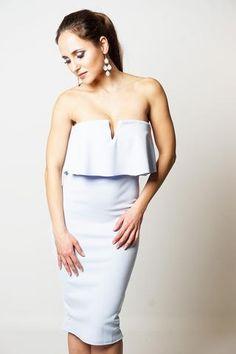HELENA FRILL OVERLAY BANDEAU DRESS