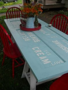 """Door table--stenciling is CUTE and like the """"saw-horse"""" legs!"""