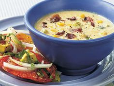 Corn and Bacon Chowder - Quick and Easy Soups with just -- from Cooking Light - Cooking Light Mobile Bacon Chowder Recipe, Bacon Corn Chowder, Chowder Recipes, Soup Recipes, Cooking Recipes, Healthy Recipes, Bacon Soup, Chowder Soup, Chili Recipes