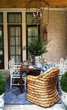 The Pink Pagoda: Blue and White Monday with Parker Kennedy Outdoor Rooms, Outdoor Living, Outdoor Decor, Outdoor Ideas, Outdoor Furniture, Porches, Exterior Design, Interior And Exterior, Atlanta Homes