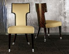TAYLOR LLORENTE | MAKASSAR EBONY 8830 LEATHER DINING CHAIR | 3,145.00 retail USD as shown.