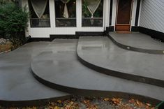 Home Design Outdoor Patio Stamped Concrete Stair Acid Wash Pool Deck Finish Black Stain Gulf Grey Co Concrete Patios, Concrete Front Steps, Poured Concrete Patio, Cement Steps, Acid Stained Concrete, Concrete Porch, Concrete Patio Designs, Cement Patio, Stamped Concrete