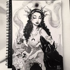 ✨Hecate from my #lyfeink16 inktober (now inkvember...) goddess challenge! I skipped ahead to do her and Santa Muerte for Halloween and Day of the dead ❤️ Hecate's familiar is a black dog and she is associated with many fun poisonous plants The originals I have done so far, prints, and book preorder will be later this week so keep a look out! The book will also have descriptions of each goddess as well as some inking tips :)