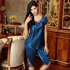 Art, 100 silk home clothes female summer short sleeve lace pants in silk pajamas two piece suit 2619