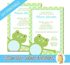 Green Frog Invitations - INSTANT DOWNLOAD with EDITABLE TEXT! No waiting for a proof. Just download and type. You'll have baby shower invitations ready to go instantly! Perfect for last minute planners.