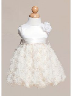 Ivory Sleeveless Satin Bodice and Rose Detail Flower Baby Dress in Size 6M- 24M in 2 Colors