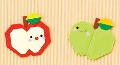 みんなが大好きなフルーツの折り紙。 かわいい表情のりんごたち。 顔のパーツの位置をちょっと変えるだけでも全然違う印象になるよ!