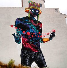 """The Visitor"" by Deih - Fanzara, Spain - September, 2014 (LP) Deih is a renowned street artist who started in 1993. He travels all over Spain to paint his graffiti, and his current project is an introspective series to illustrate his personal truth. His bold, colorful Sci-fi-reminiscent style  has earned him much recognition."