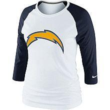 Women's Nike San Diego Chargers 3rd N Long Raglan T-Shirt - NFLShop.com