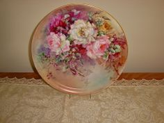 Antique Limoges France Hand Painted Porcelain Charger Tray Plaque from theverybest on Ruby Lane