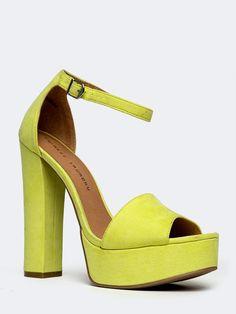 New Chinese Laundry Avenue Women Chunky Heel Ankle Strap Sandals Yellow Sz Lemon | eBay