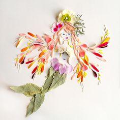 Mermaid of flower petals Real Mermaids, Mermaids And Mermen, Arte Floral, Fleurs Diy, Mandala, Flower Rangoli, Pressed Flower Art, Mermaid Art, Mermaid Paintings