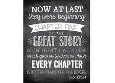Now At Last They Were Beginning Chapter One - C.S. Lewis Printable Quote on Love - Custom Colors Available