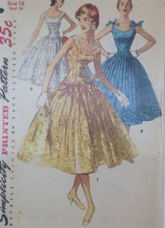50's Simplicity 1153 Drop Waist Party Cocktail Dress  compl. 17.5+2.43 6bds 1/18/14