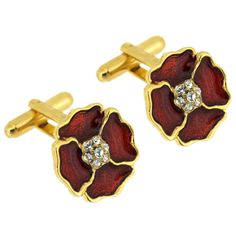 Gold Plated, Crystal and Red Enamel Poppy Men`s Cufflinks Large - Red enamel poppy mens cufflinks encrusted with clear swarovski crystals on a gold plated frame. Remembrance Poppy, Royal British Legion, Small Flowers, Poppies, Swarovski Crystals, Cufflinks, Enamel, Red, Polish