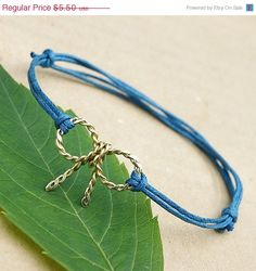 Sale Bow bracelet  friendship bracelet gold mint by SheBijouPl, $4.40