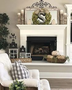 I finally added a little fall decor to my fireplace mantle and hearth. I finally added a little fall decor to my fireplace mantle and hearth. We are relaxing with the family today. I hope you're all enjoying your Sunday too! Hearth Decor, Fall Living Room Decor, Fireplace Mantle, Fireplace Design, Fireplace Mantel Decor, Living Decor, Living Room Decor, Farmhouse Mantel, Fireplace