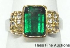 Large Natural Emerald Diamond 14k White Yellow Gold Vintage Ladies Ring Sz 4.5
