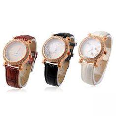 Luxus Strass Quarz Uhr Leder Armbanduhr Geschenk für Damen