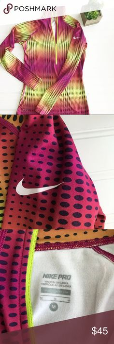 Nike Pro || Half Zip Pullover Vibrant color scheme  Excellent used condition  Thumb holes for comfort  Women's size M  Measurements laying flat: •Pit to Pit- 16.5 in •Length- 25.5 in Nike Tops Sweatshirts & Hoodies