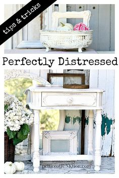 Tips and tricks for distressing painted furniture and home decor accessories. Sharing techniques that work from Petticoat Junktion.