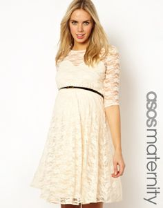 ASOS Maternity | ASOS Maternity Lace Skater Dress with Belt And 1/2 Sleeve at ASOS