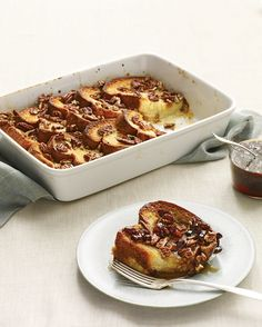 Thick brioche slices soak up the batter, while sugared pecans lend a caramelized crunch. Refrigerating the dish overnight leaves nothing to do but top it with pecans and bake it the next morning.