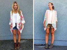 combinez la veste kimono avec un top blanc et des shorts