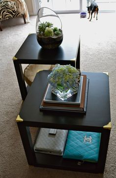 Ikea Hack.... DIY Trunk Cube Tables made from four LACK side tables!:IKEA Lack table