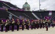 The Band of The Blues & Royals playing at the London 2012 Olympics Beach Volleyball Venue at Horse Guards Parade.