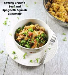 This savory casserole with ground beef, garlic, oregano, and calorie friendly spaghetti squash noodles is a light and easy evening meal.