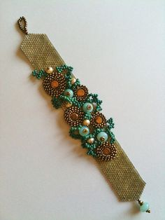 Bracelet Sea Form Seed Bead With Bronze Circles by JekaLambert on etsy