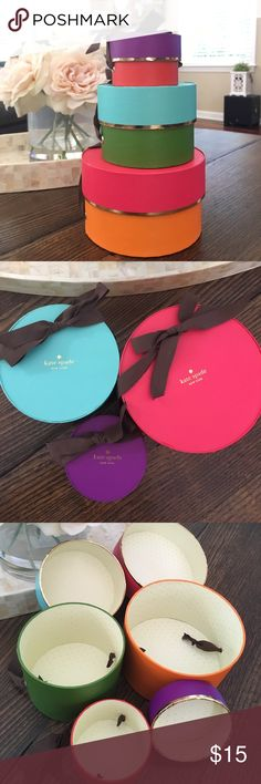 Kate Spade stacking gift boxes set of 3 Live colorfully! Super fun set of 3 kate Spade gift boxes. Great for storage or to add a splash of color to your closet! No stains. Not available for sale in stores. kate spade Accessories