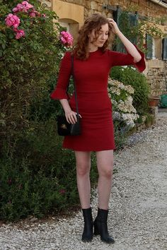 Summer Read - Topshop Tall Red Dress With Bell Sleeves, Asos Box Bag, Next Vintage Black Sock Boots - The Red Dress