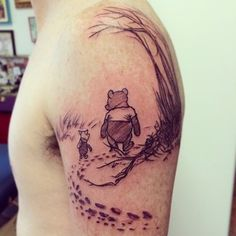 Winnie-the-Pooh tattoo. Click thru for more Incredible Tattoos Inspired By Books From Childhood