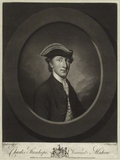 Charles Stanhope, Viscount Mahon, later 3rd Earl Stanhope (1753-1816), mezzotint by Thomas Watson after Antoine Daniel Prud'homme, 1775. Mahon married Pitt's sister Hester in 1774, and was the father of Lady Hester Stanhope. He was at first a supporter of Pitt's administration, but later they became estranged both politically and personally.