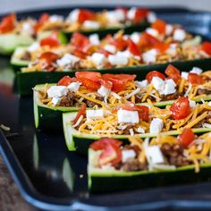 Stuffed Zucchini.... Make turkey taco meat and then add the fixings.  Would be delish!