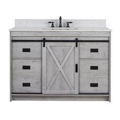 "Gracie Oaks Guang 60"" Single Bathroom Vanity Set | Wayfair Engineered Stone Countertops, Engineered Wood, Hidden Shelf, Barn Door Designs, Barn Style Doors, Single Bathroom Vanity, Bathroom Vanity Farmhouse, Single Vanities, Set Of Drawers"