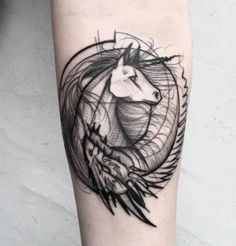 Sketch Style Unicorn & Dragon Tattoo by Frank Carrilho