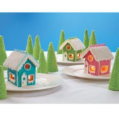 Gingerbread houses are so yesterday! A modern family lives in suburbia, in houses more like these colorful cookie cottages. For the warm glow you see, place a Flameless Votive inside! Gingerbread House Frosting, Gingerbread House Candy, Graham Cracker Gingerbread House, Graham Cracker House, Cookie Cottage, Christmas Crafts, Christmas Houses, Christmas Stuff, Christmas Baking