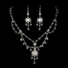 Crystal Necklace and Chandelier Wedding Earrings with Vintage Charm! Affordable Elegance Bridal -