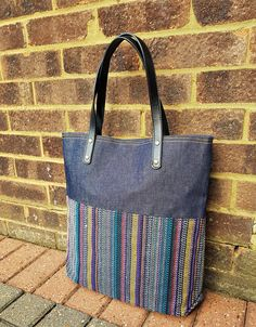 Denim Tote bag in lovely thick woven cotton in multi colours, bucket bag,vegan leather straps, big bag-Fair trade #affiliate