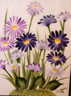 one stroke painting. Attempting these flowers on a tea tray I am making.