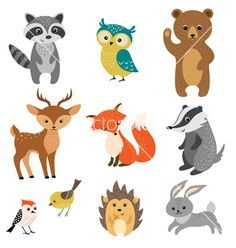 Cute forest animals on VectorStock