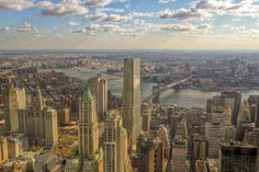 A view from the 80th floor of the One World Trade Center, looking east over Brooklyn