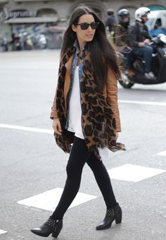 Layers; cognac jacket with print scarf over denim button up and white tops. Balanced off with black.