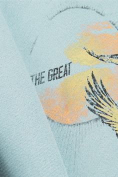 The Great - The College Printed Cotton-terry Sweatshirt - Blue - 1