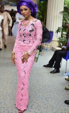 Hadiza Raisa Okoya & Olamiju Alao-Akala Wedding - AsoEbi BN Weddings Glam for BellaNaija - April 2014 - 024 African Lace Styles, African Dresses For Women, African Attire, African Wear, African Fashion Dresses, African Women, African Beauty, Ankara Styles, African Outfits
